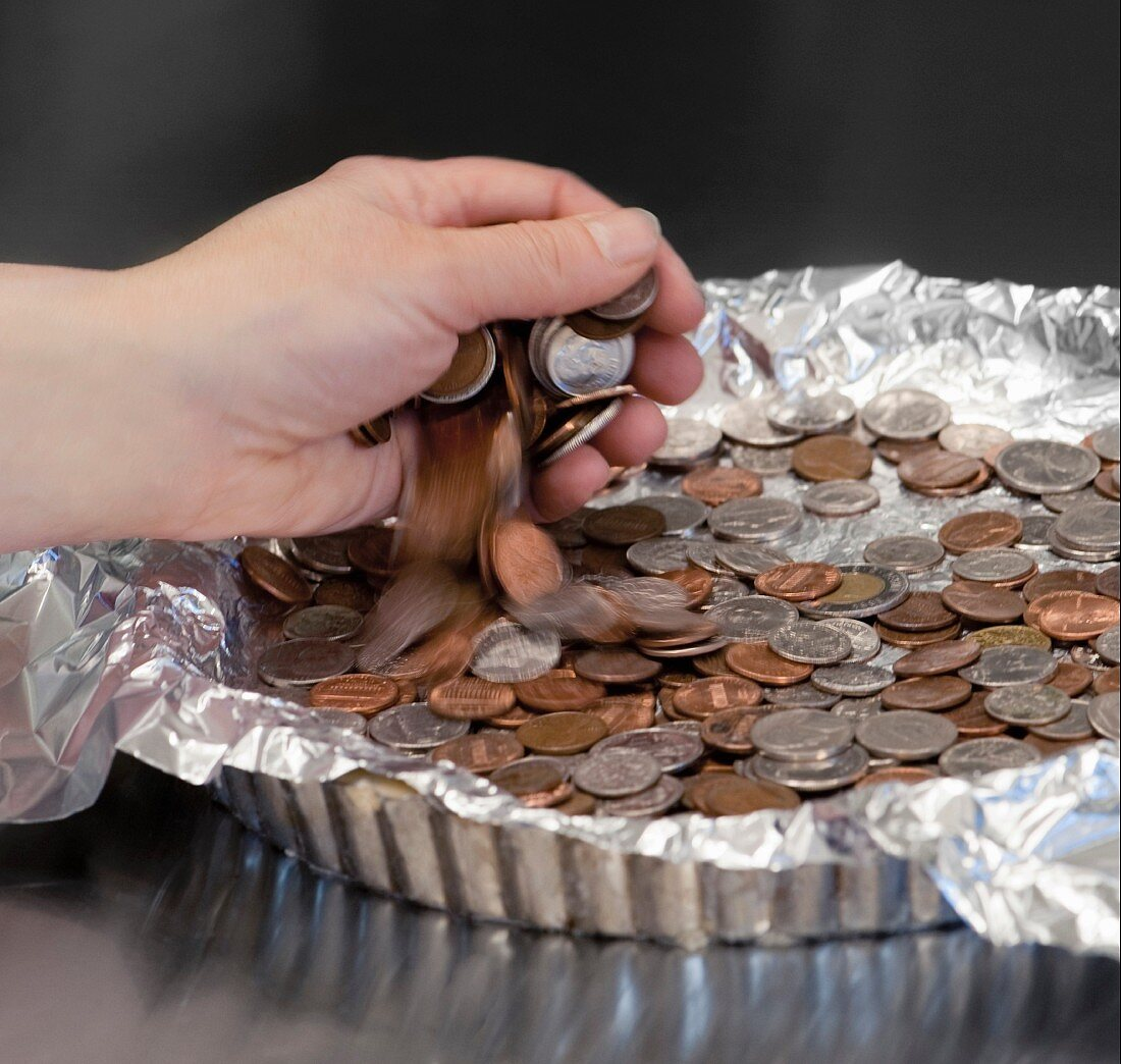 Blind baking with coins