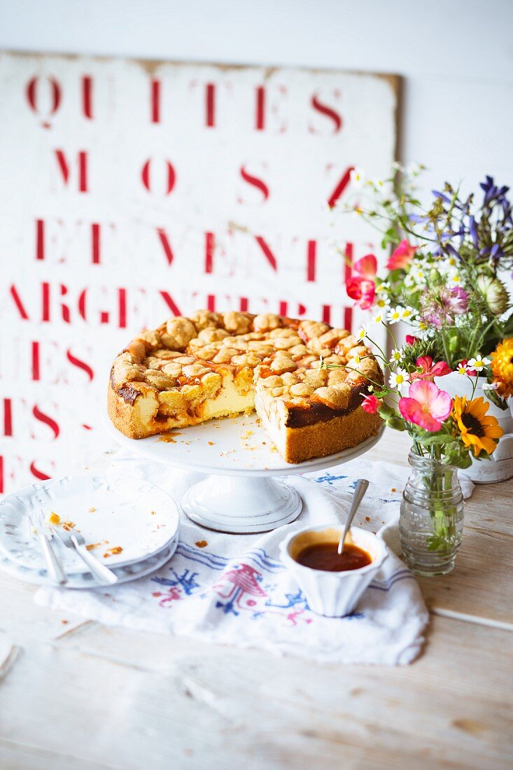 Buttermilk quark cake with rosehip jam