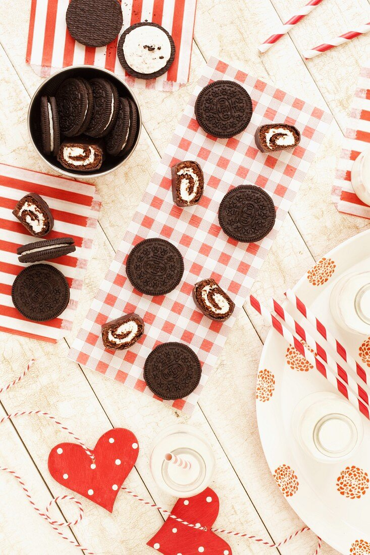 Oreo cookies, cakes and milk for a Christmas party (USA)