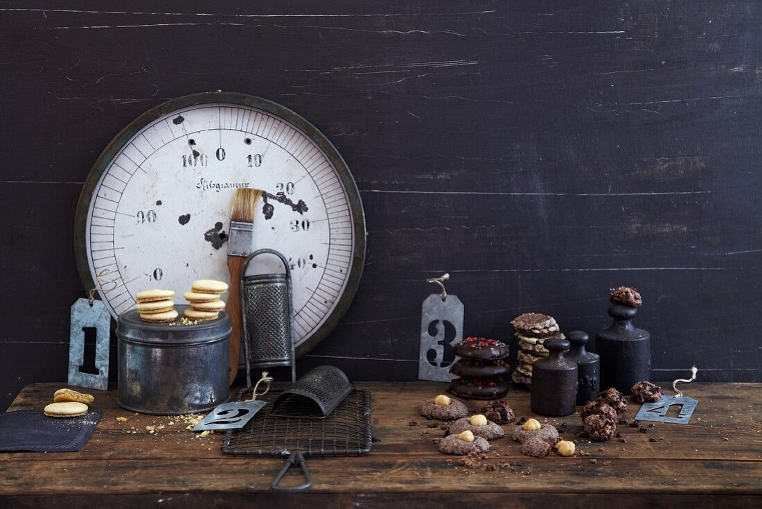Old-fashioned baking utensils for making Christmas biscuits and cakes