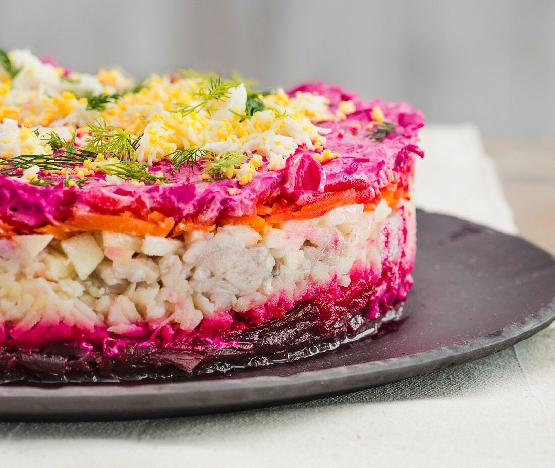 Russian herring salad with beetroot and egg