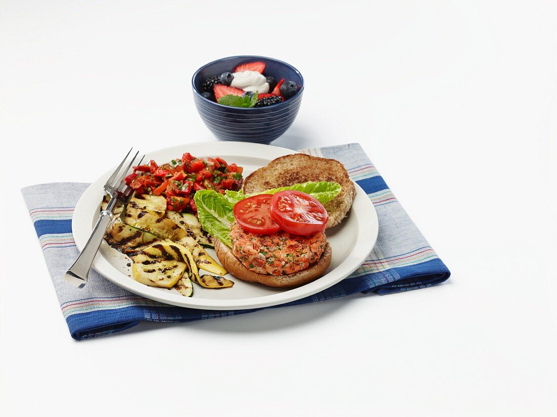 Salmon burger with grilled courgette and pepper relish for diabetics