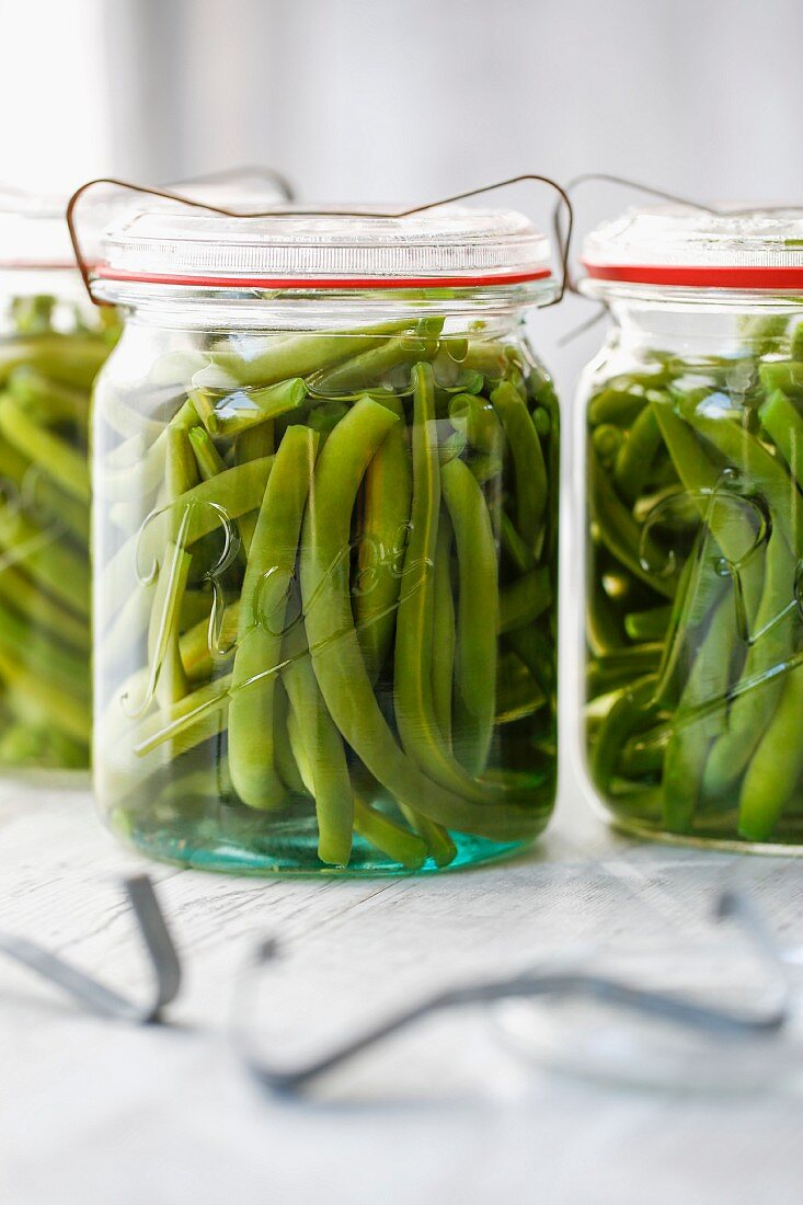Jars of pickled green beans