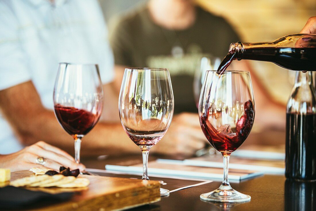 People drinking red wine together in a bar