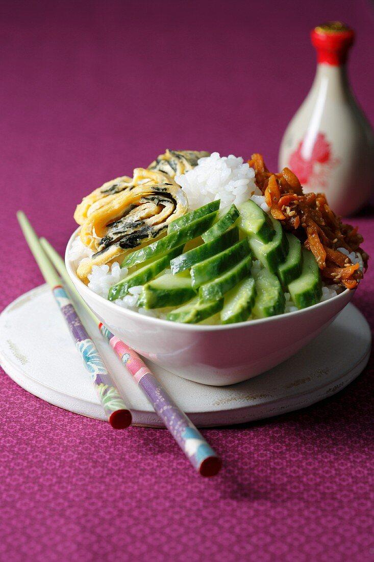 Chirashi sushi with cucumber (Japan)