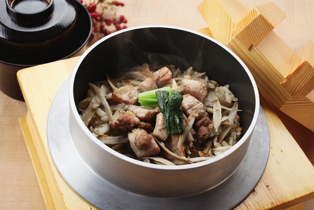 Burdock rice with chicken (Japan)