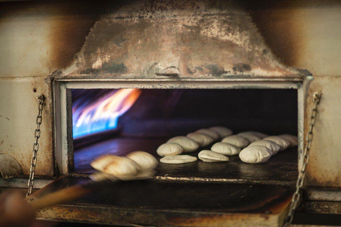 Unleavened bread in an oven
