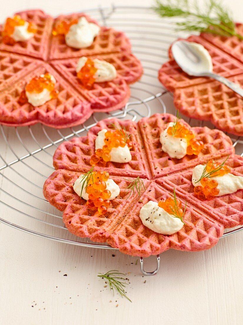 Beetroot waffles with horseradish sour cream