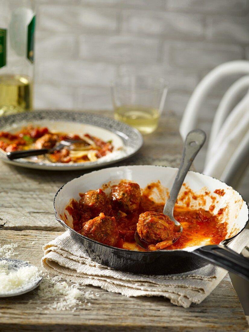 Meatballs with Marinara sauce in a pan