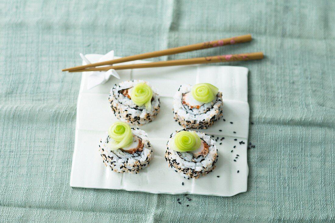 Uramaki sushi with cucumber