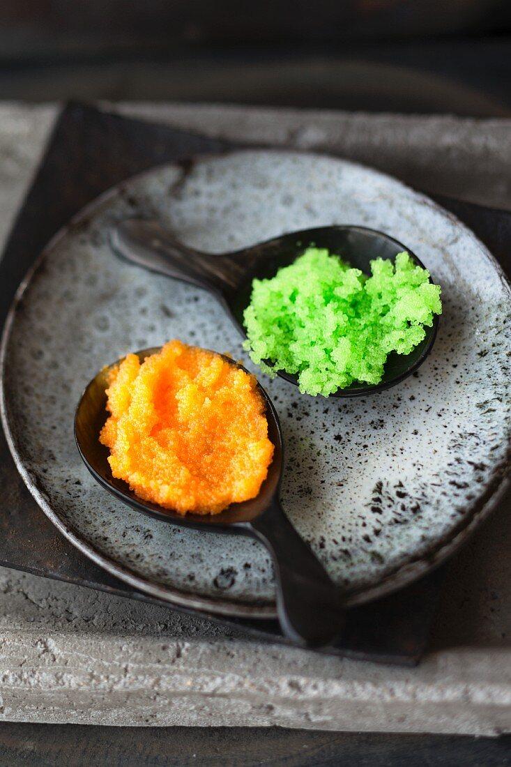 Tobiko caviar (dyed flying fish roe, Japan)