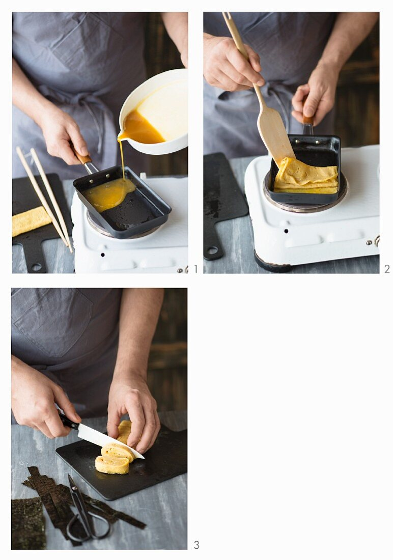Tamago (Japanese omelette for sushi) being made