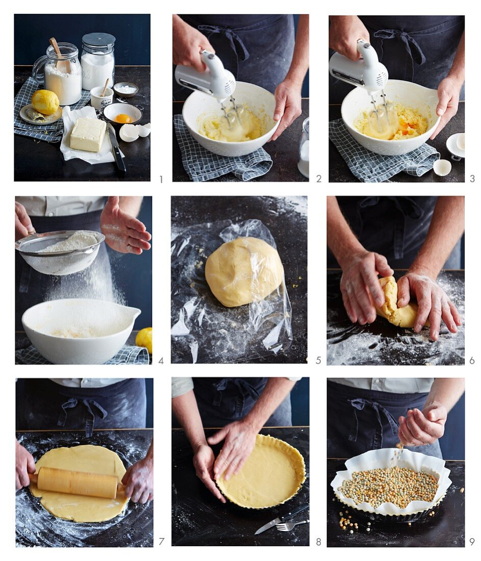 Shortcrust pastry being made and blind baked