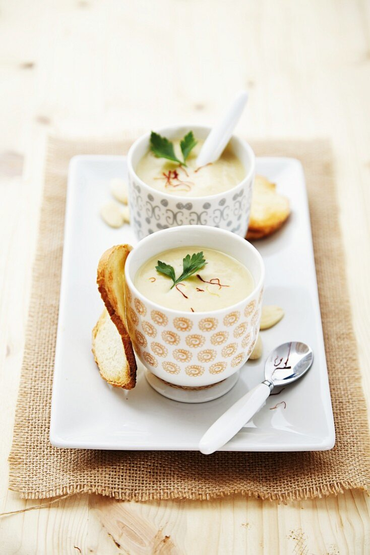 Cold almond and garlic soup with saffron (Spain)