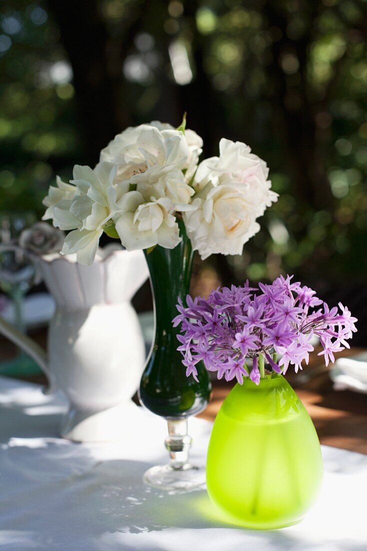 Vases of flowers decorating a table