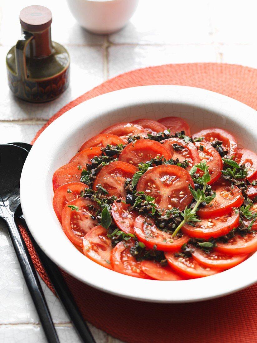Tomato salad with an olive and oregano vinaigrette