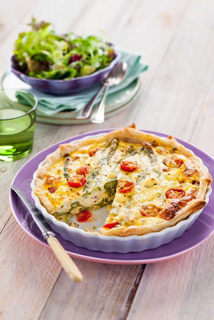 Asparagus tart and green salad