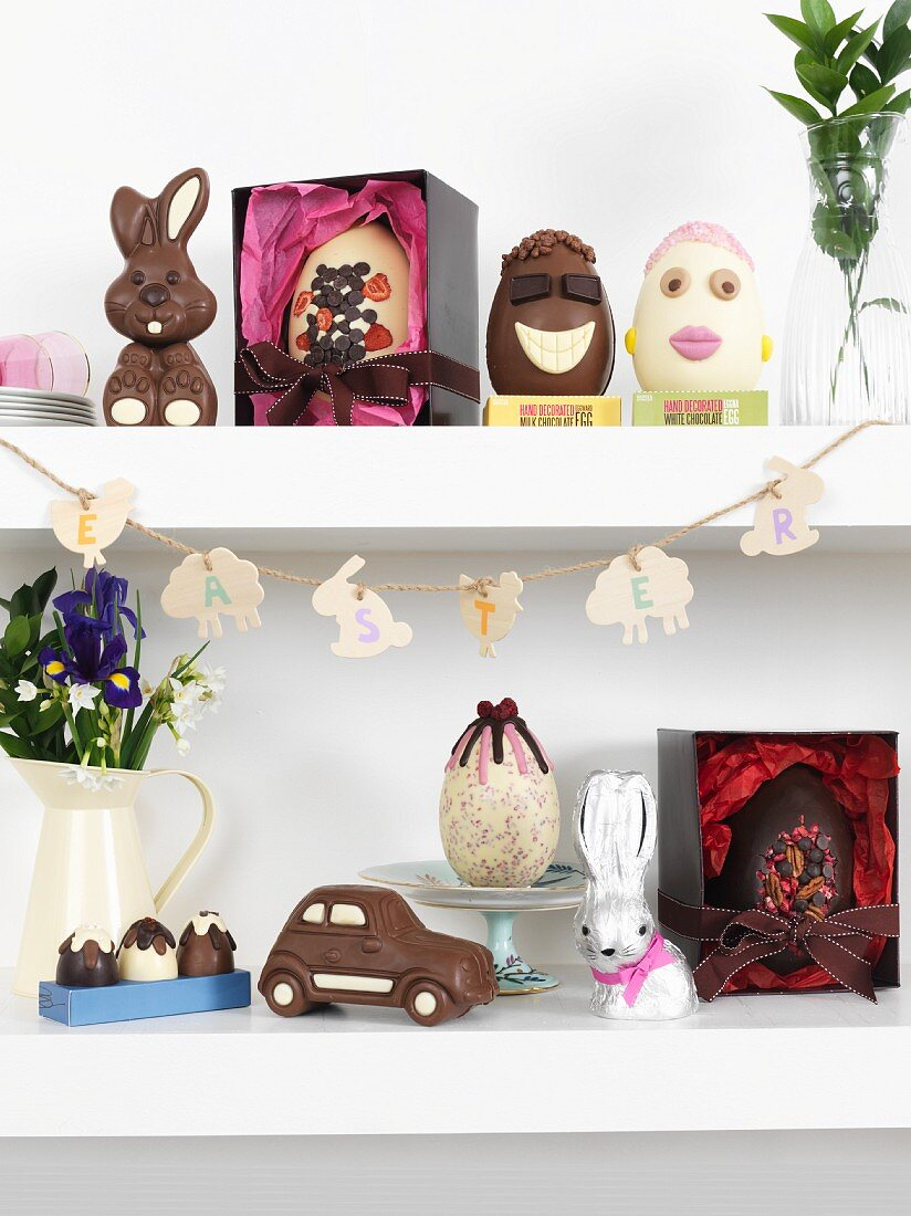 Various chocolate Easter treats on floating shelves