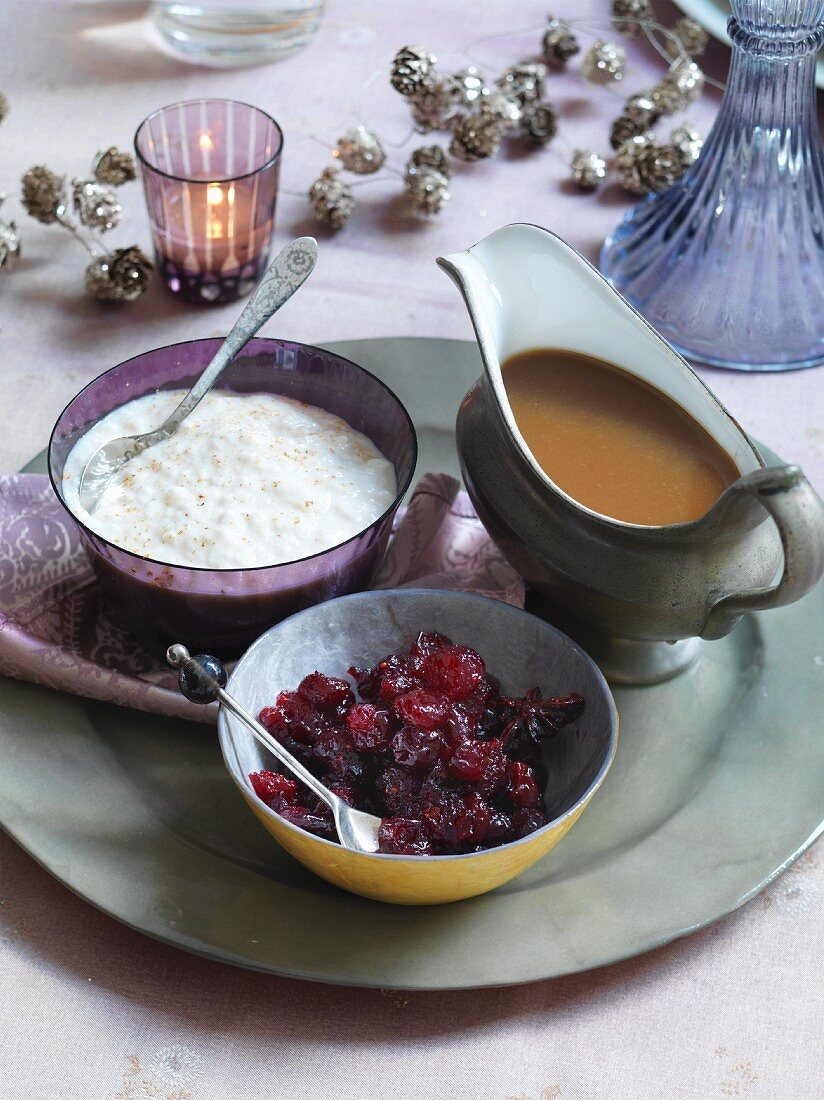 Cranberry and orange compote, bread sauce and gravy