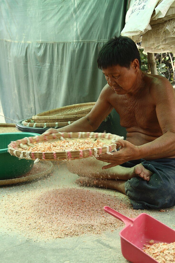 A seller cleaning dried prawns, Thailand