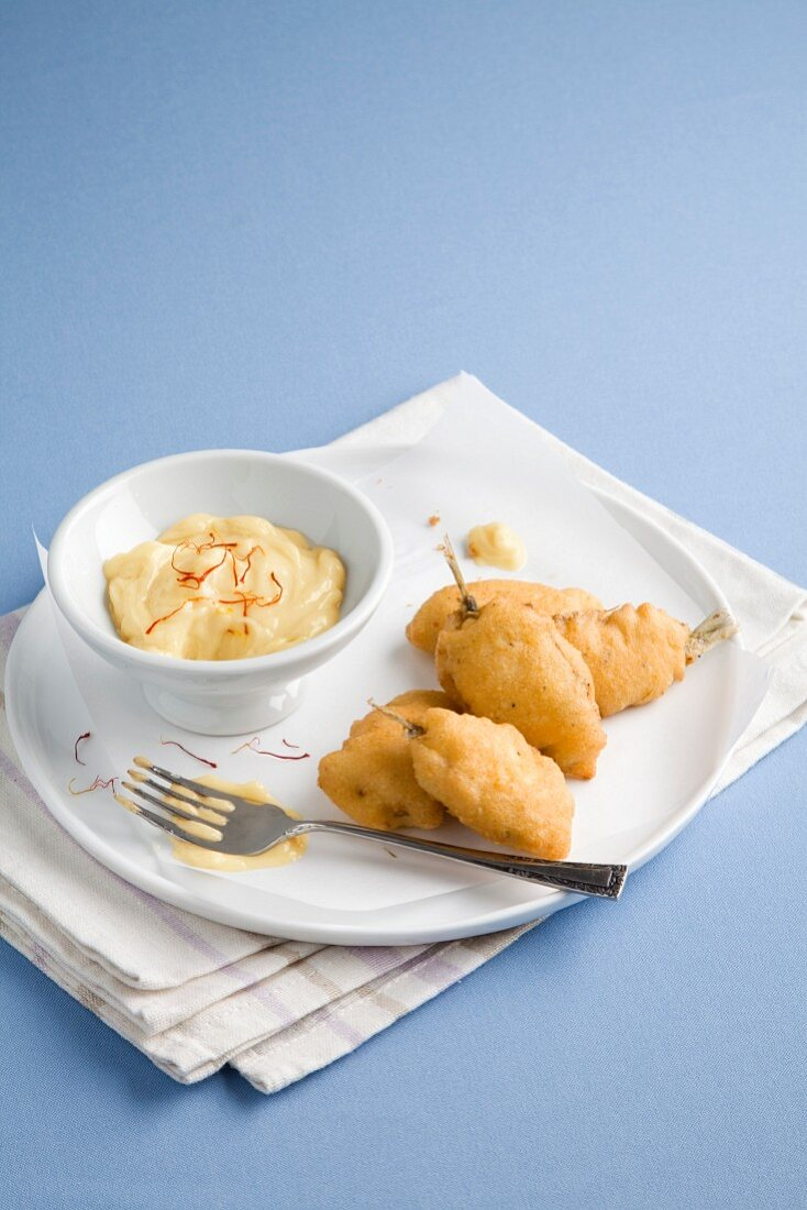 Anchovies in almond batter with saffron mayonnaise