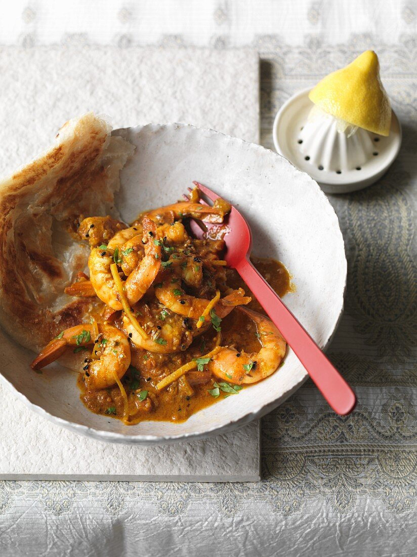 Spicy king prawn curry from northern India
