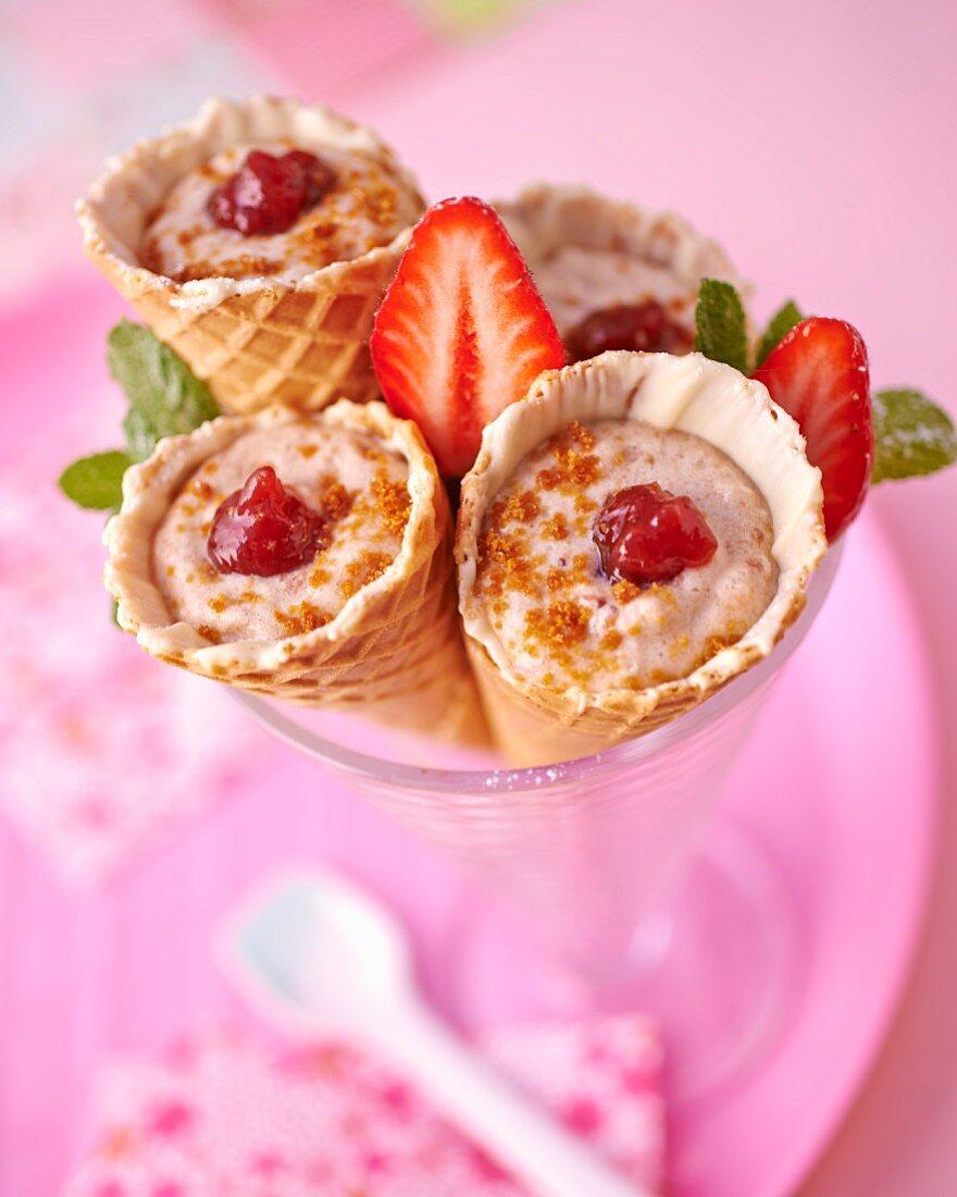 Tiramisu in ice cream cones
