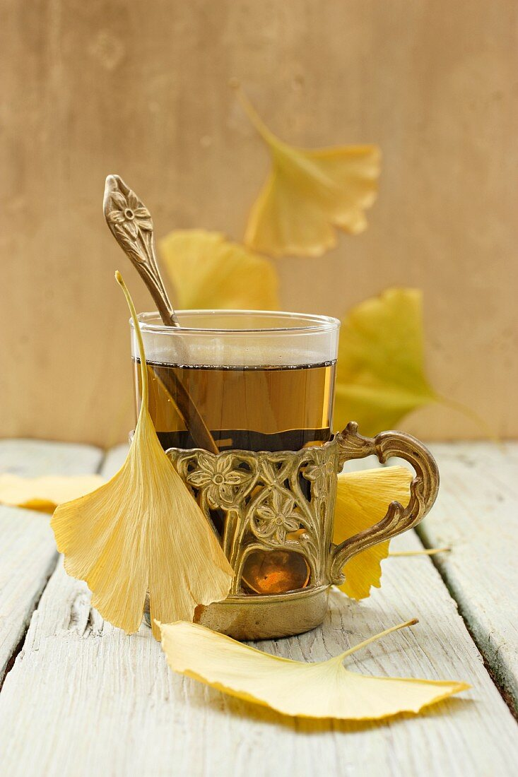 Ginkgo tea with leaves