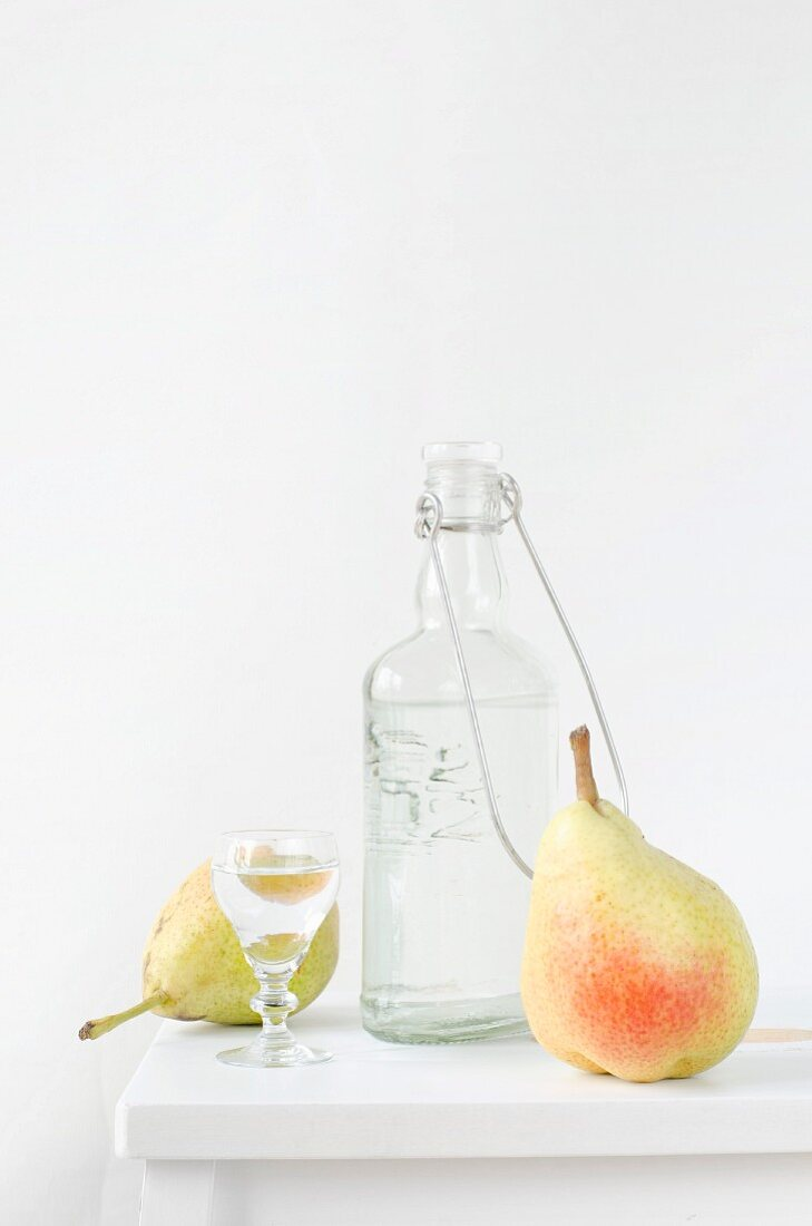 Pear schnapps and pears