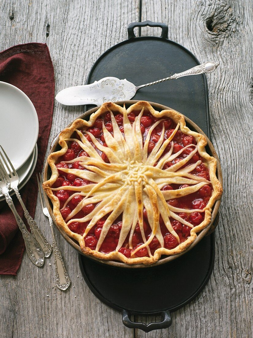 Cherry pie with a lattice top