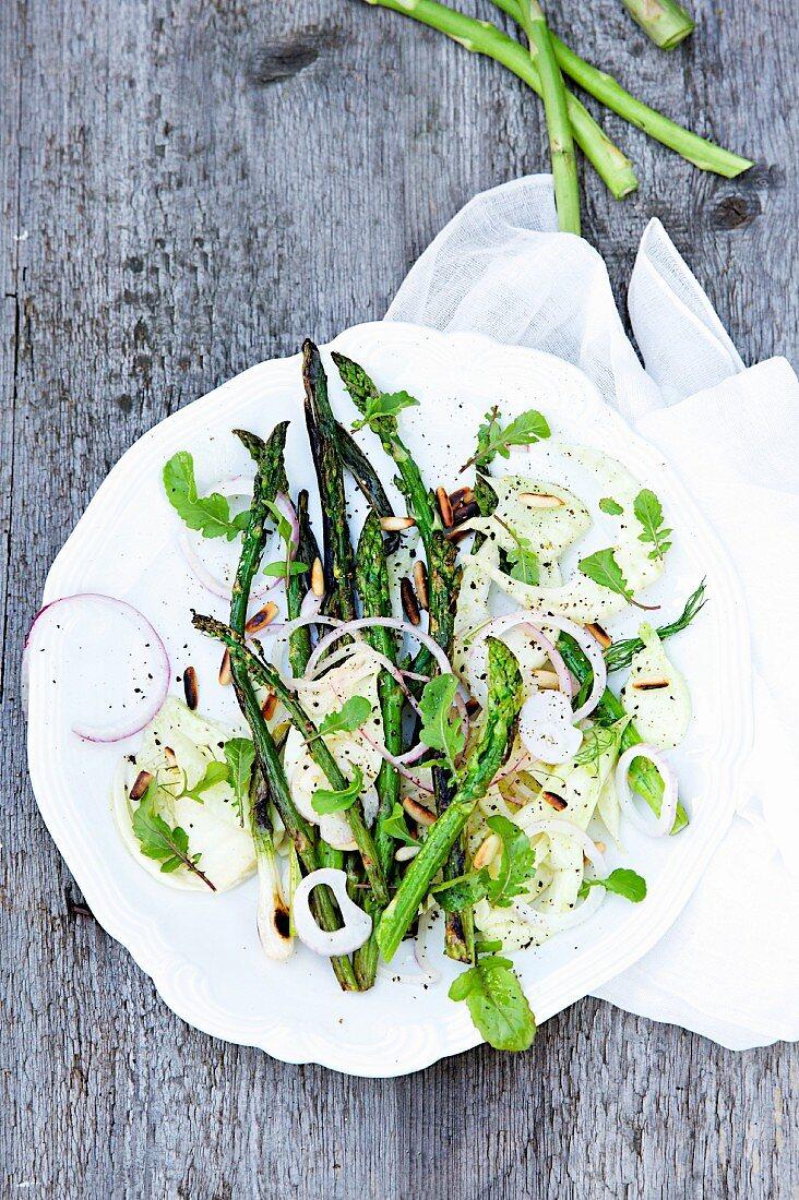 Green asparagus salad with fennel