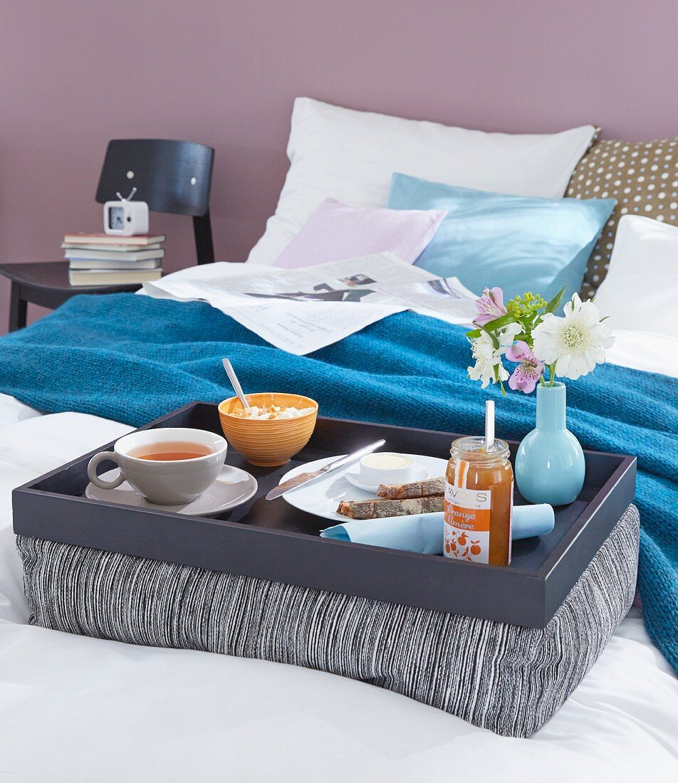 Breakfast in bed on a homemade padded tray