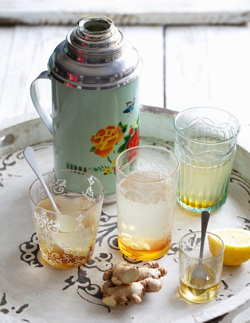 Ginger morning tea with lemon