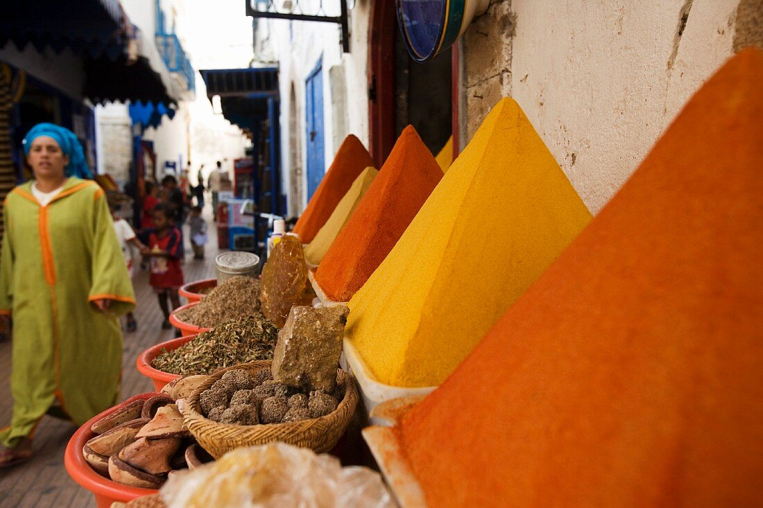 Spices for sale in the Old Town in Essaouira, Morocco, North Africa, Africa