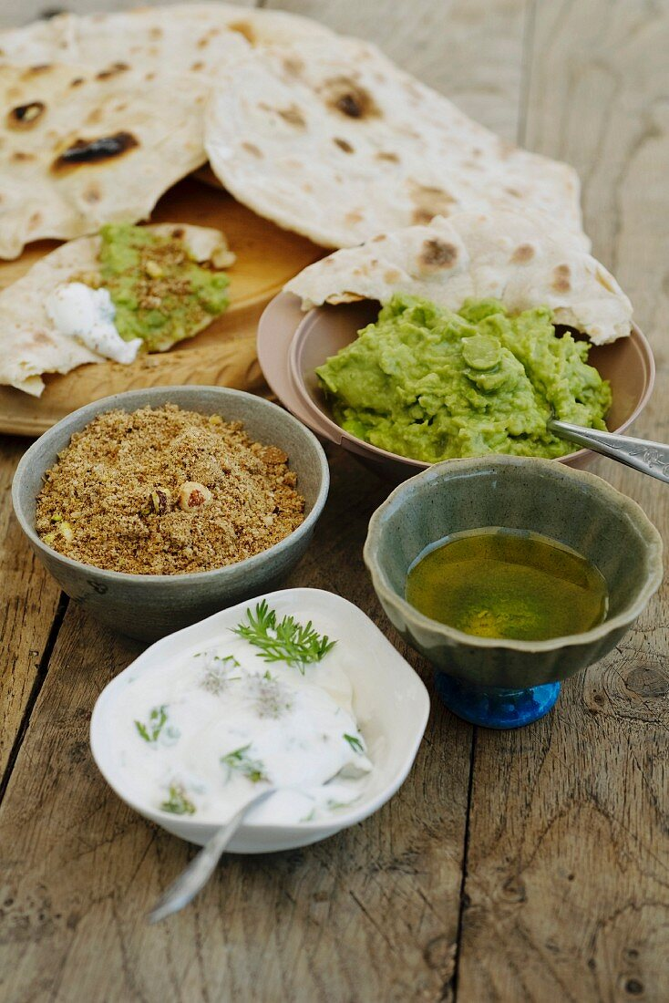 Unleavened bread and various meze