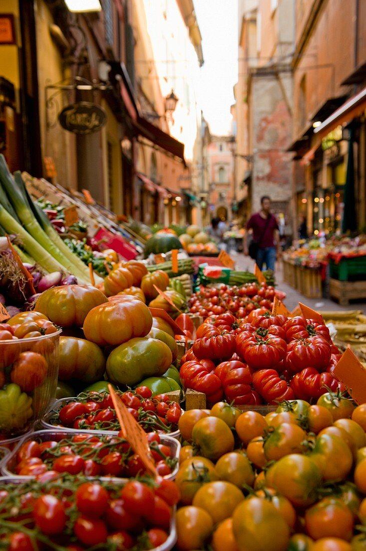 A vegetable stand on Via Pescherie Vecchie, Bologna