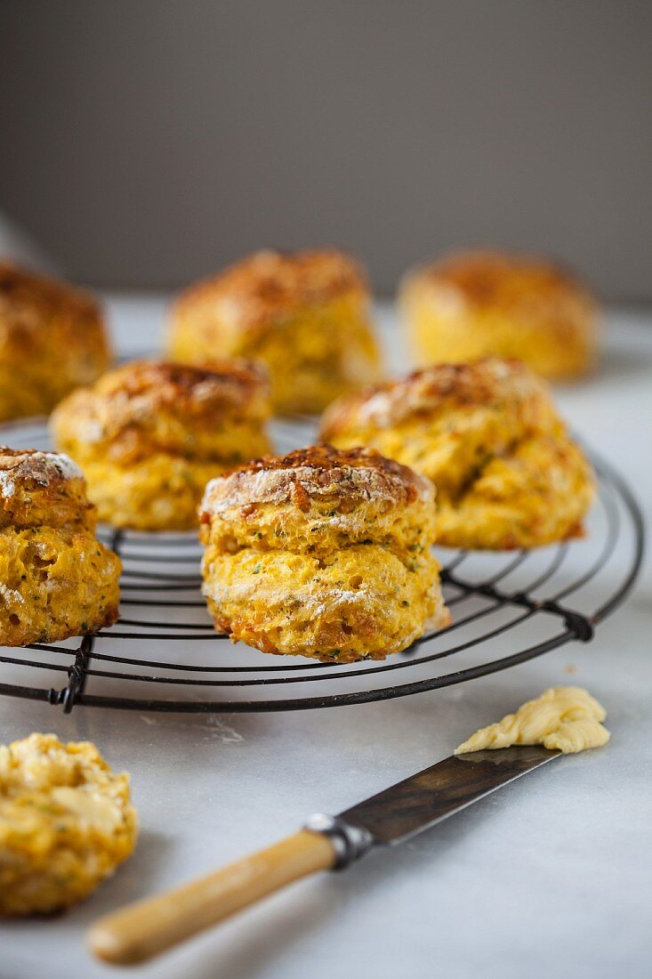 Cheese scones on a wire rack