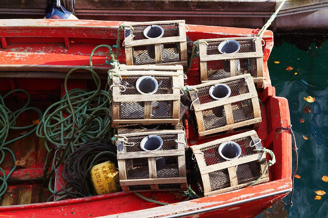 Fish traps on a fishing boat