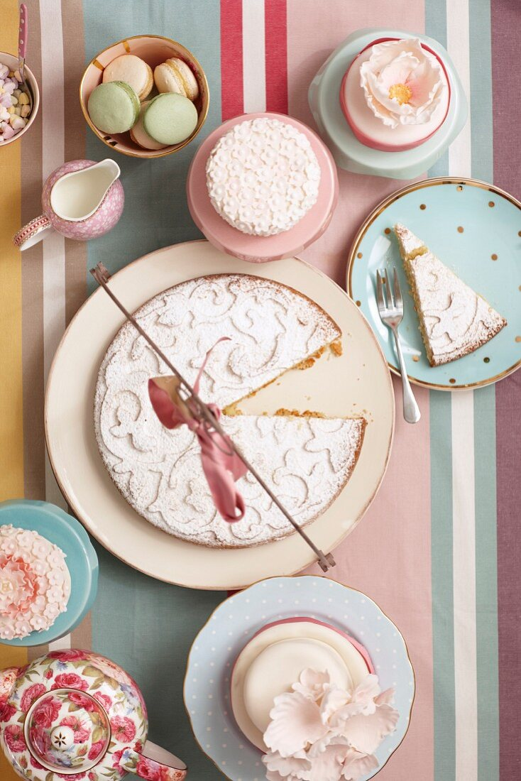 Vintage-style teatime; cakes on platter and on plates