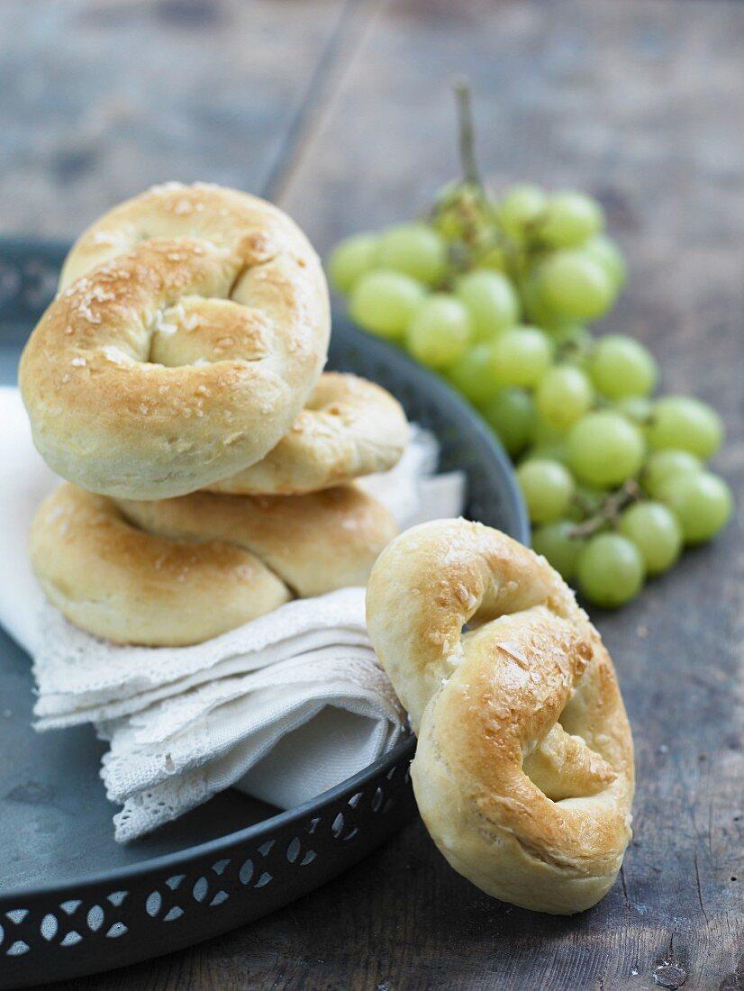 Yeast bread rolls with sea salt