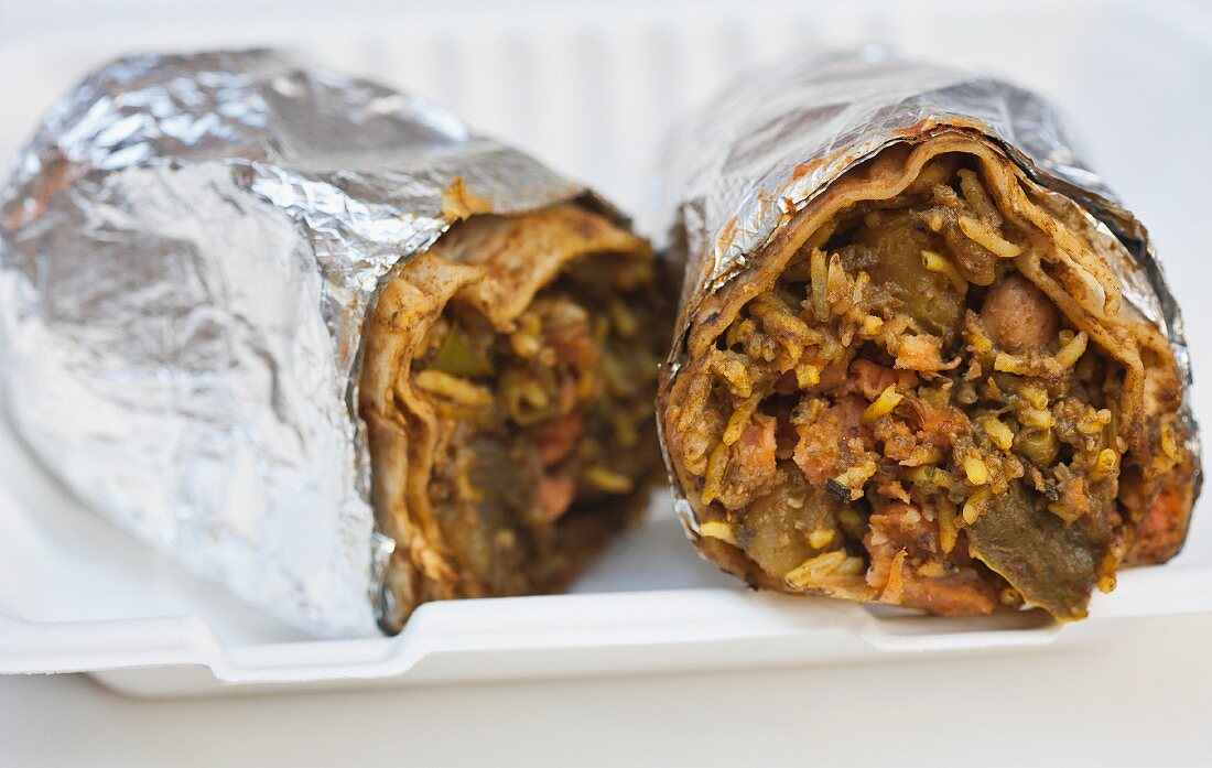 Indische Burritos im Curry Up Now Food Truck (San Francisco, USA)