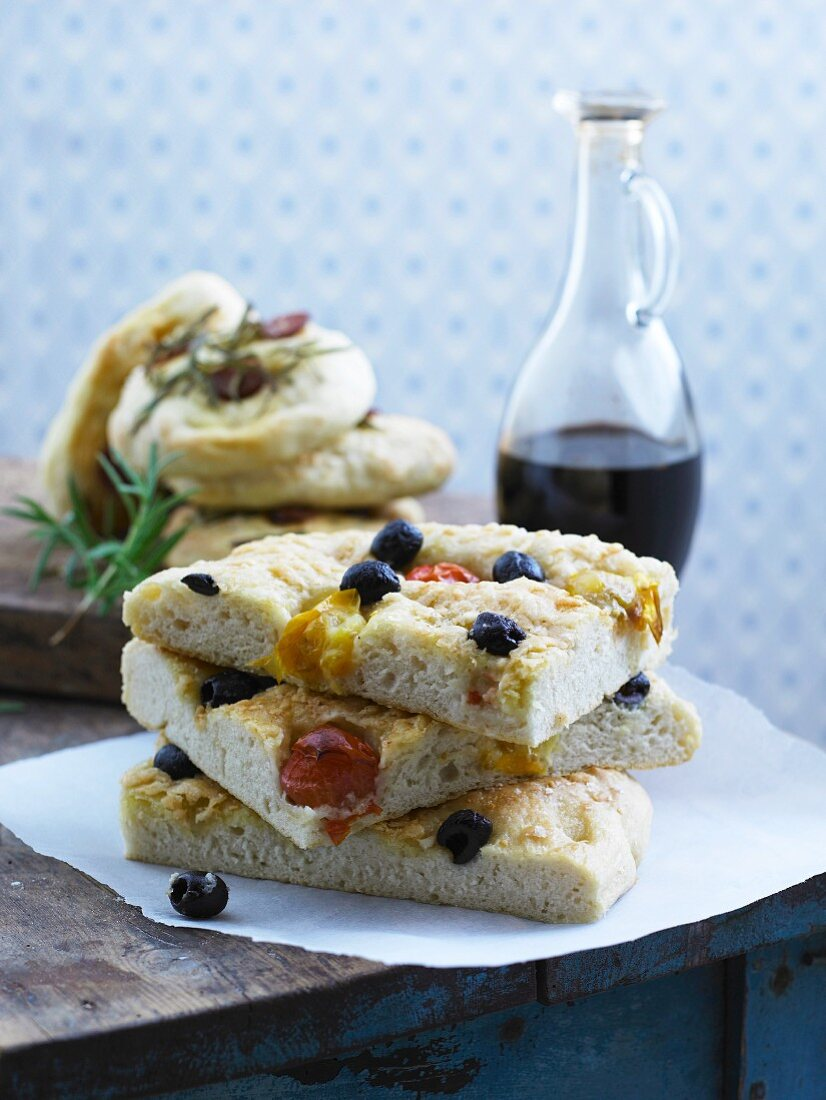 Focaccia stuffed with tomatoes and olives