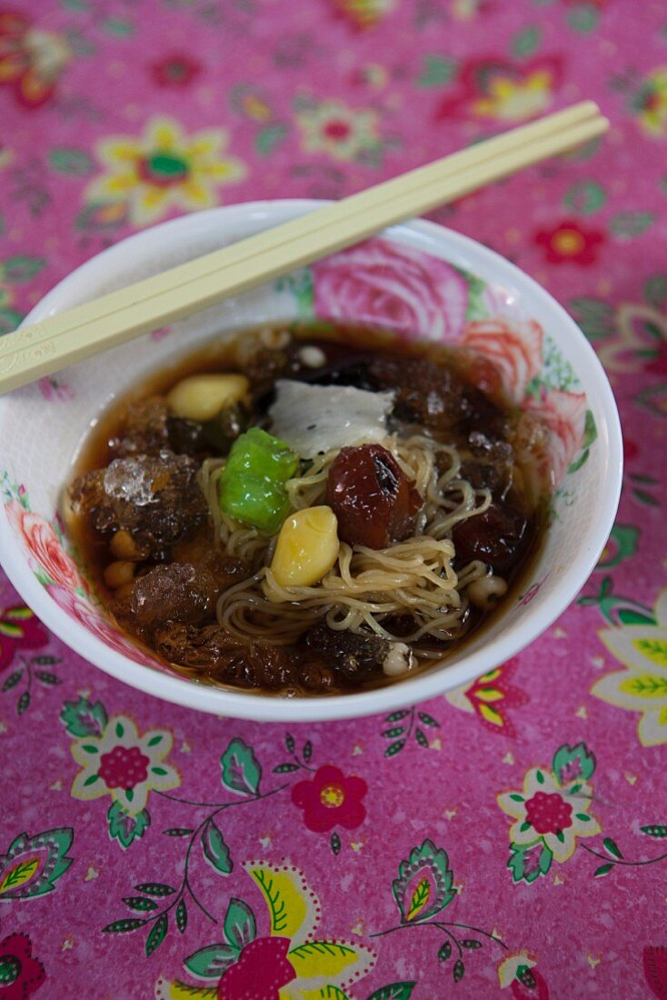 Various beans and preserved fruits in syrup (Thailand)