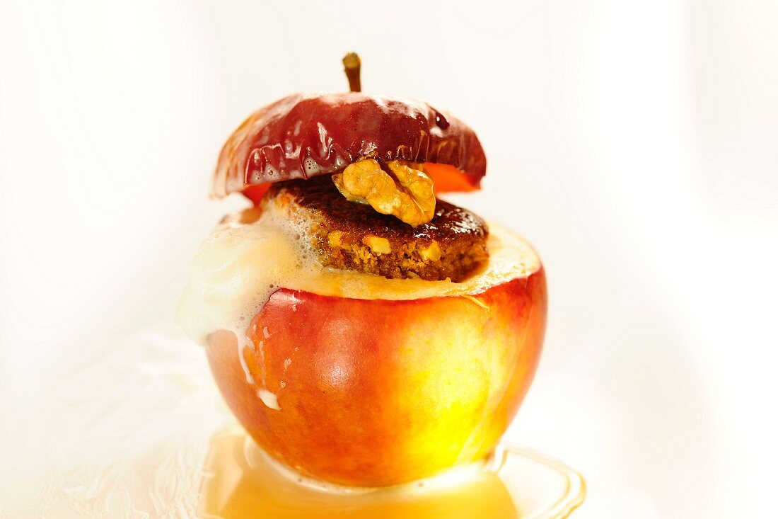 A baked apple with Baileys