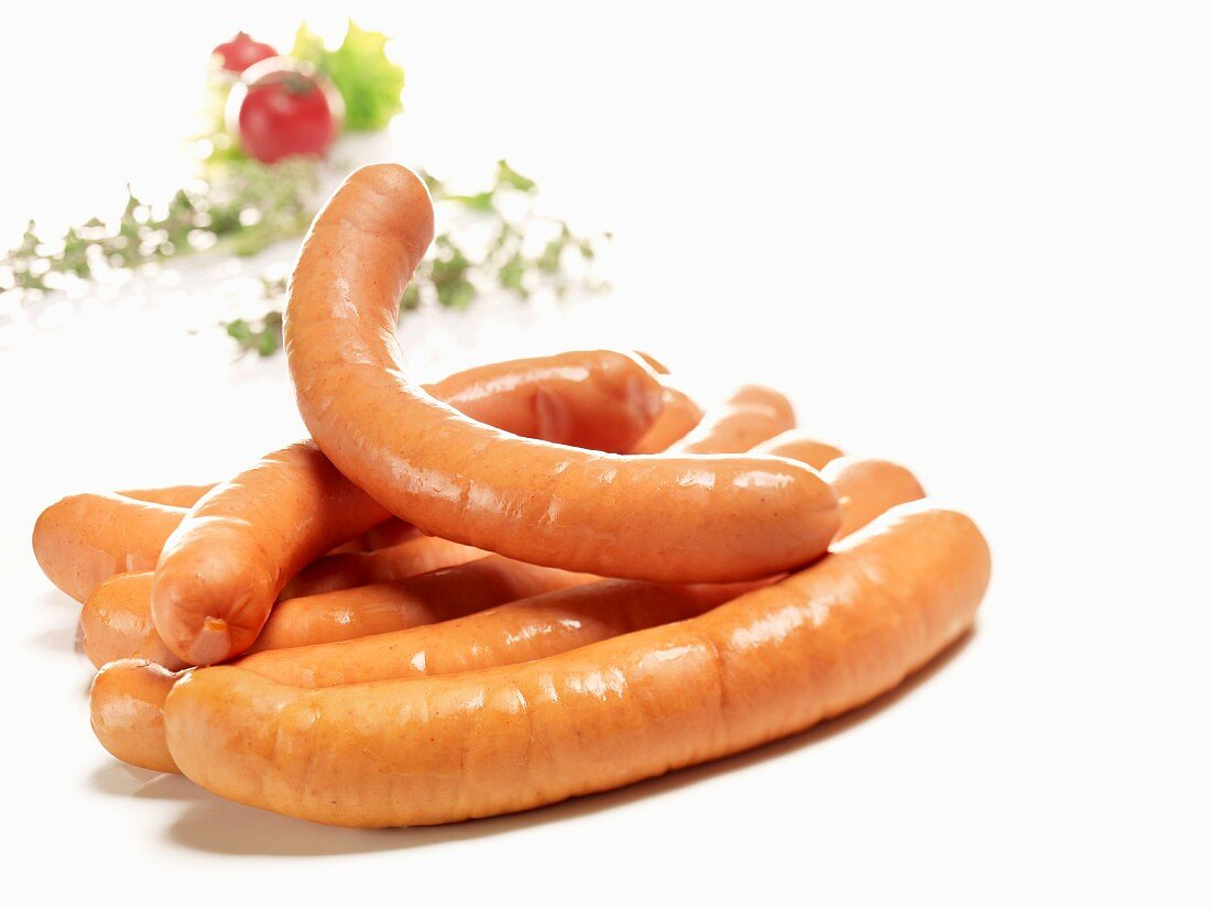 Sausages in a natural casing