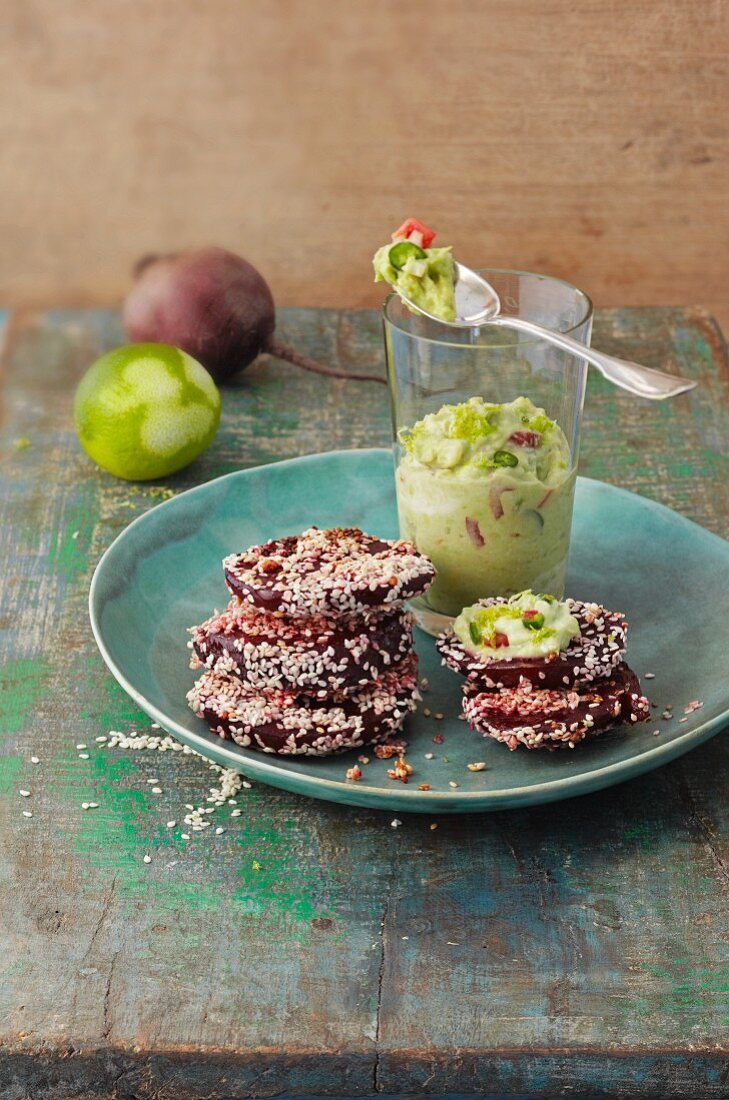 Beetroot escalope with guacamole