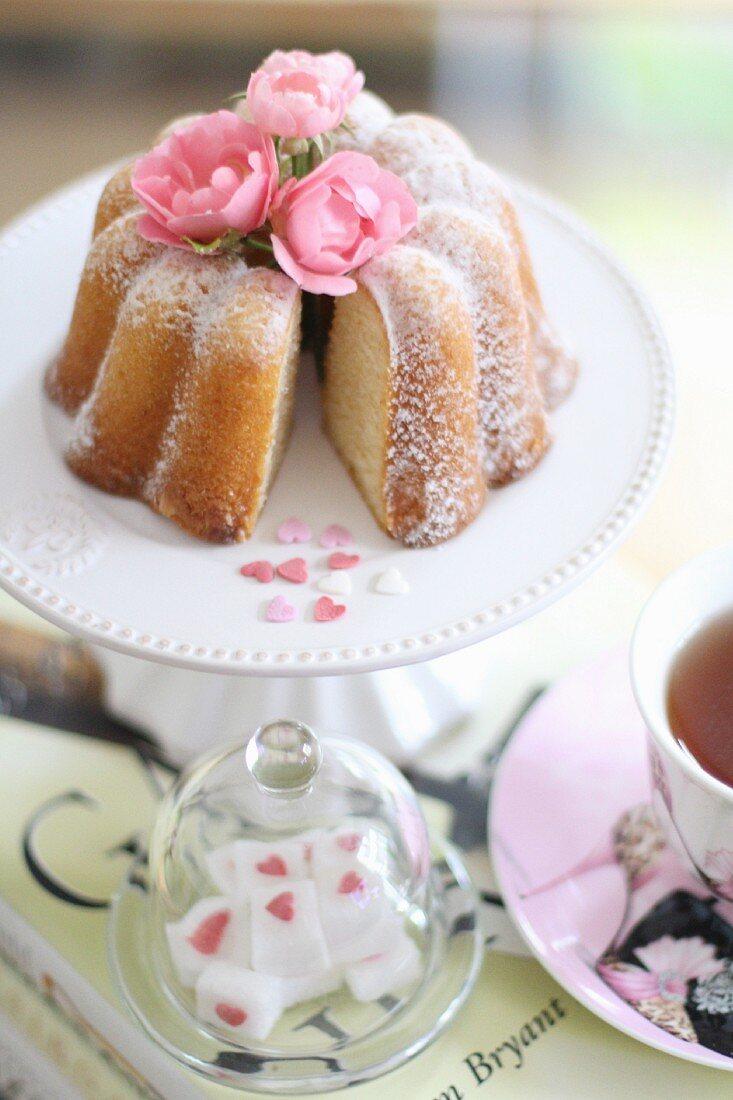 A mini Bundt cake and a cup of tea