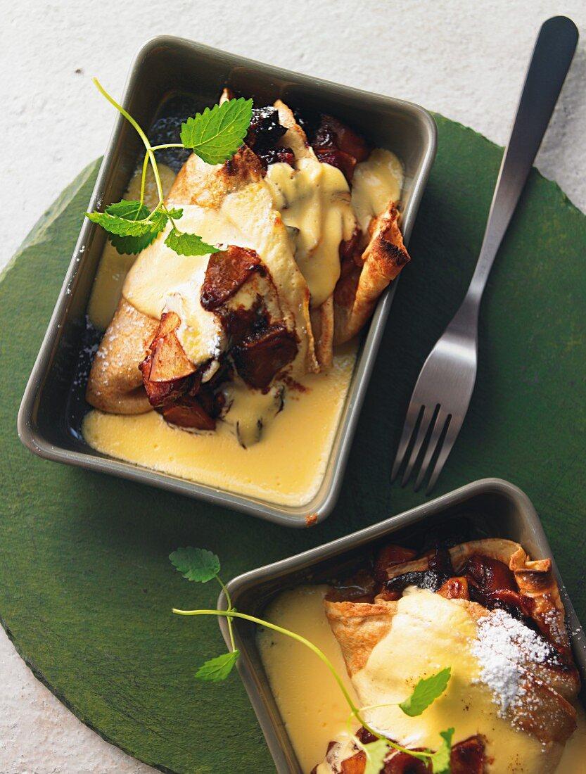 Gratinated buckwheat and apple pancake with plum jam