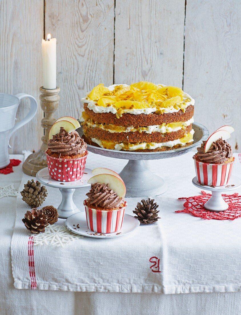 Baked apple cupcakes and orange and poppyseed cake (Christmas)