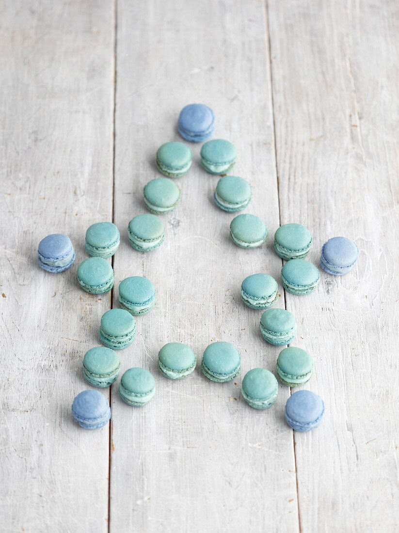 Blue macaroons in a star shape